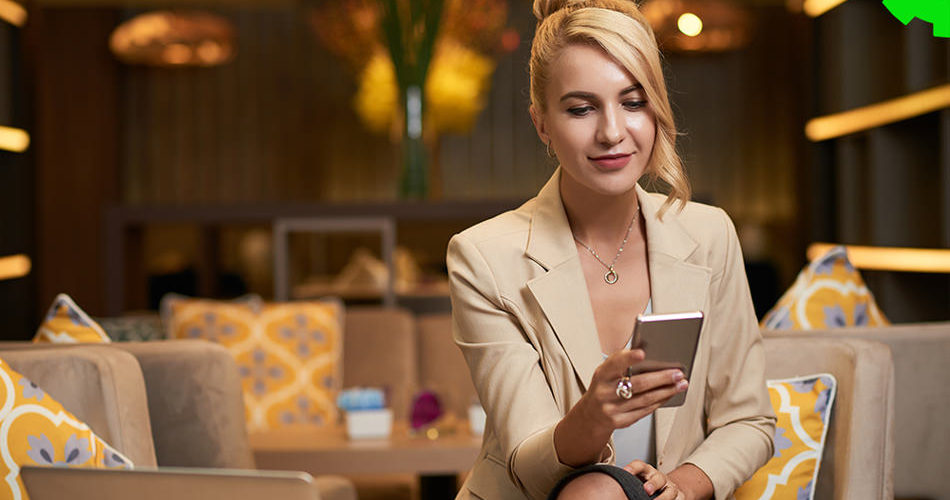 Woman Use Mobile Apps for Internal Business Communication