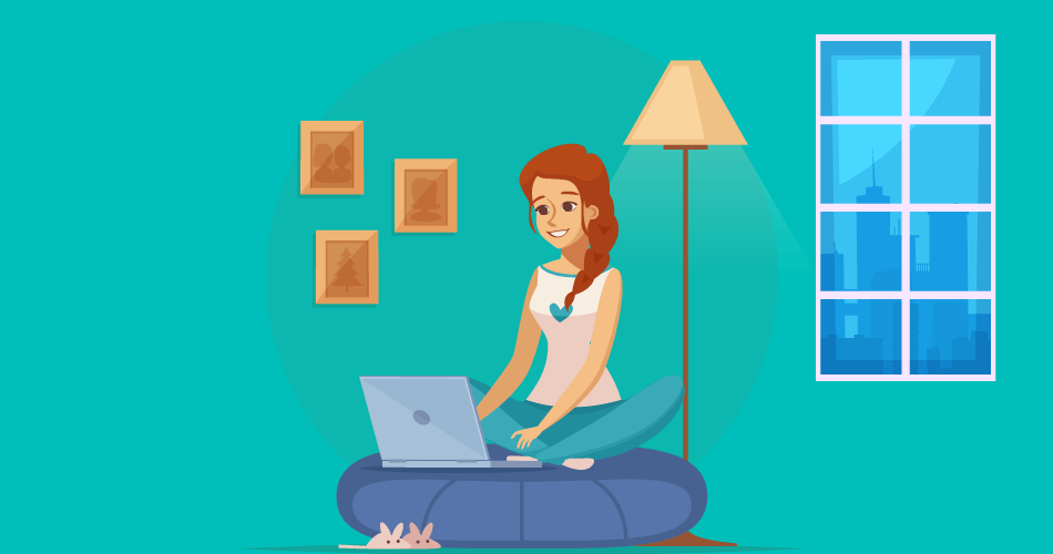 Girl using Internet At Home