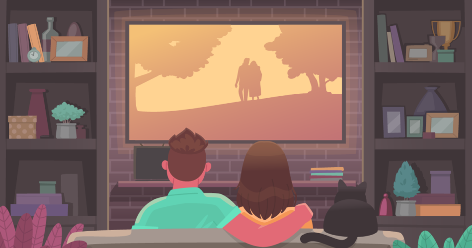 tv watching couple in summer